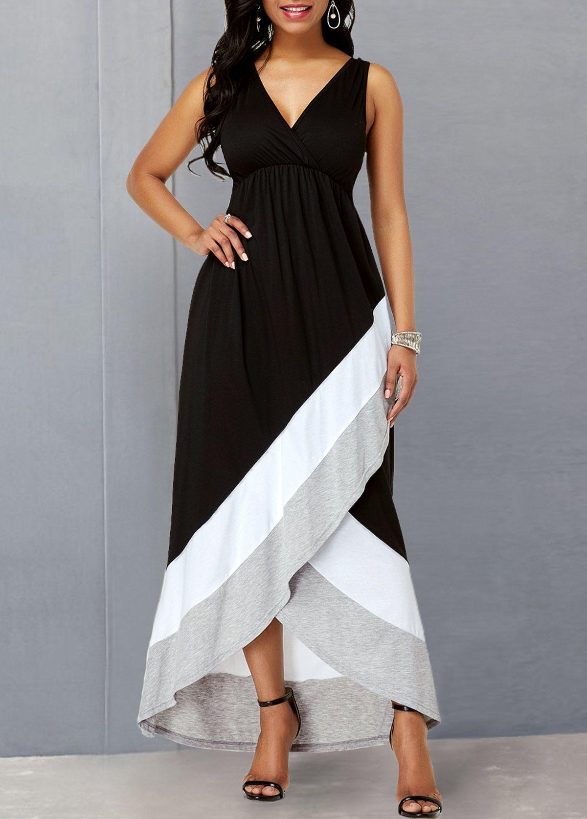 Crossover Hem Color Block Criss Cross Back Dress  Rotita.com