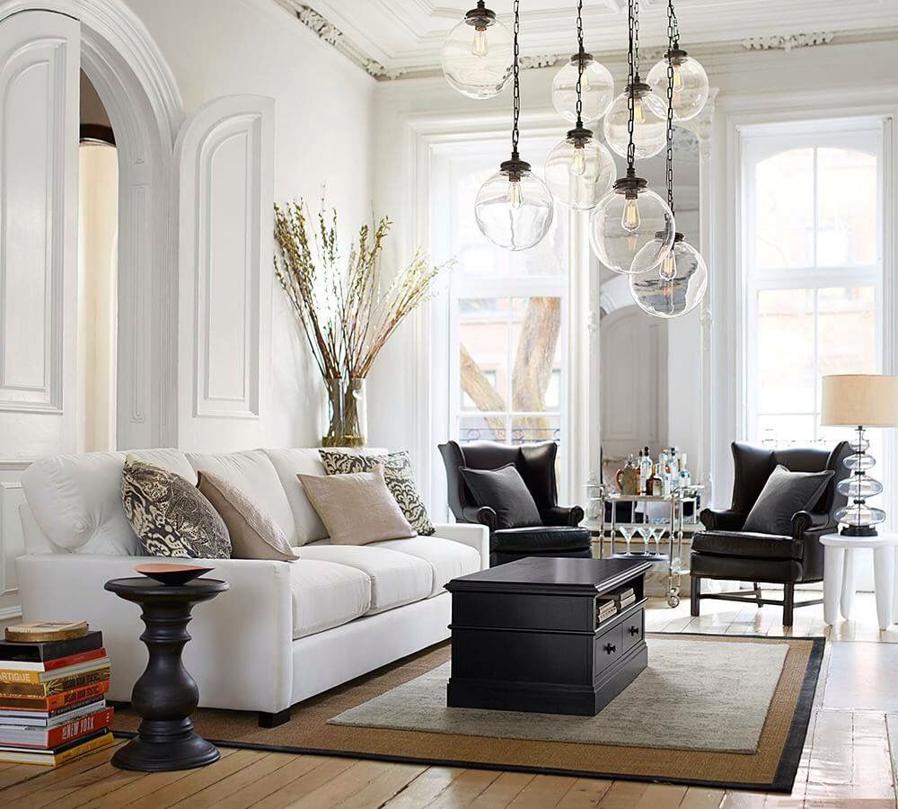 living room pottery barn%0A Pottery barn  White sofa  black leather wing back chairs  sisal jute rug