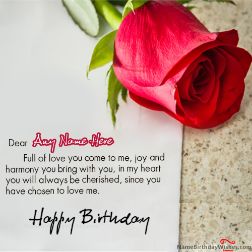 Red Rose Birthday Wishes With Name