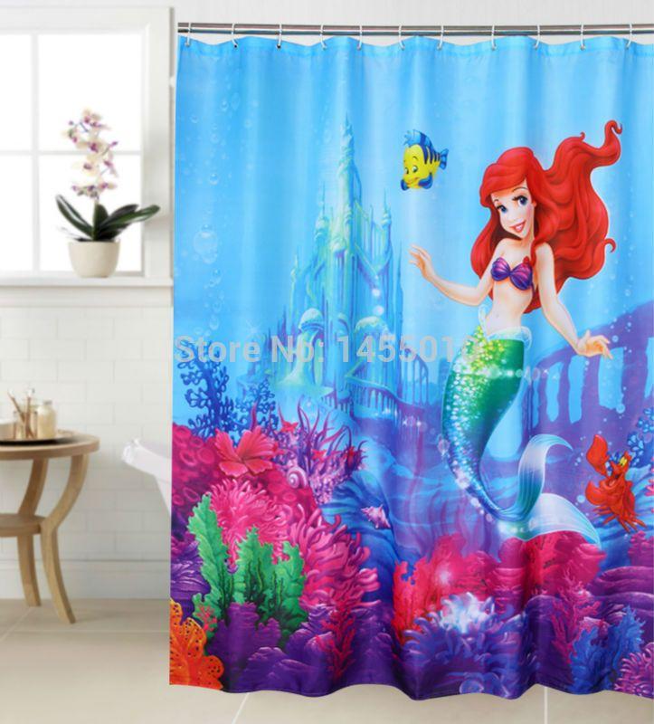 polyester terylene mermaid and yellow fish sea waterproof thicken shower curtain 180 cm 180
