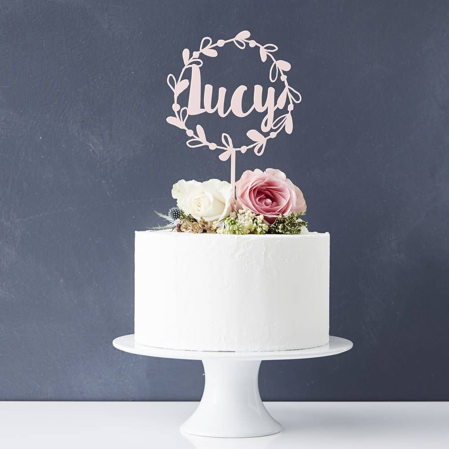Personalised Floral Name Cake Topper in 2020 Cake
