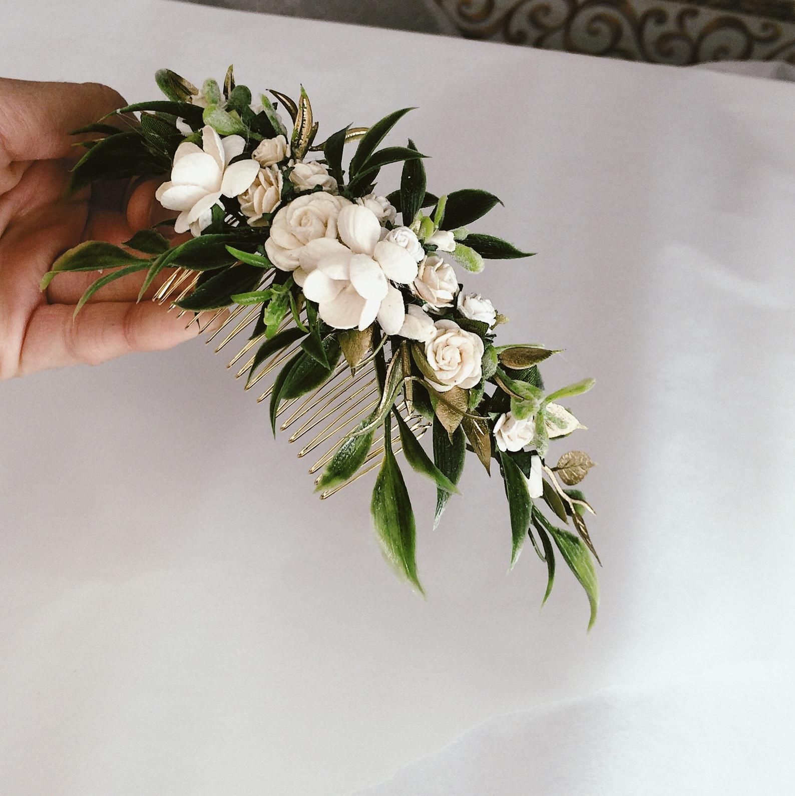 Greenery and ivory headpiece gold leaf hair piece ivory hair ...