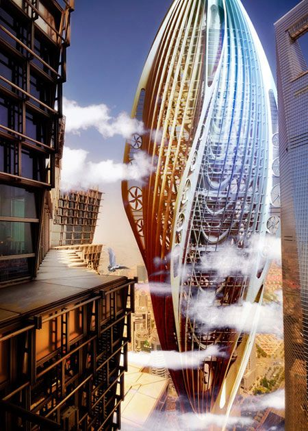 Solar vertical city is a self contained green infused tower planted into the ocean floor zero energy building futuristic architecture and tower