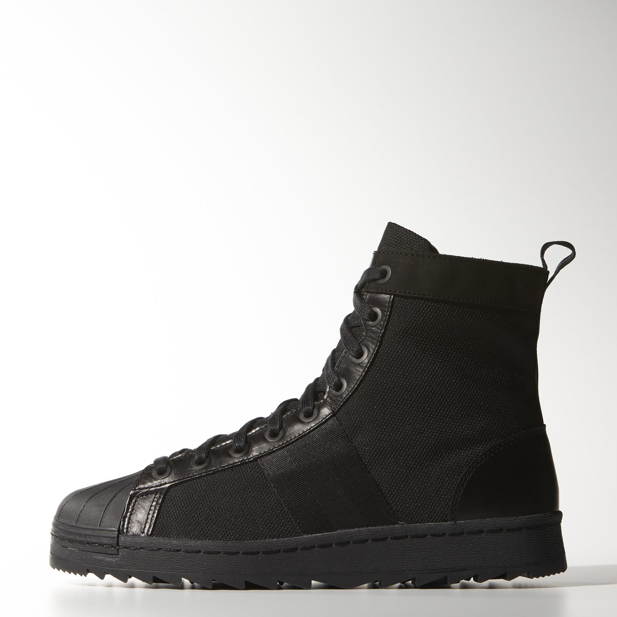 These men\u0027s boots get the iconic adidas Superstar ready for cold weather.  Giving the shell-toe legend a rugged, winter-ready build, they feature a  canvas ...