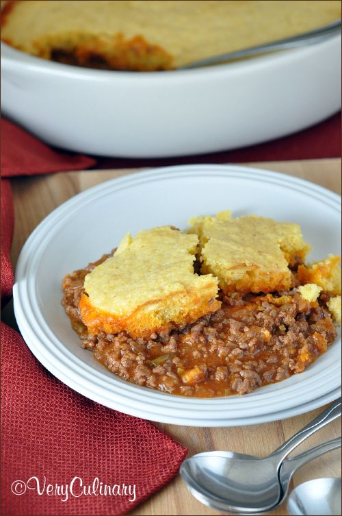 Cornbread Hamburger Skillet   Very Culinary - easy, super tasty, quick, inexpensive, and only requires one pan!
