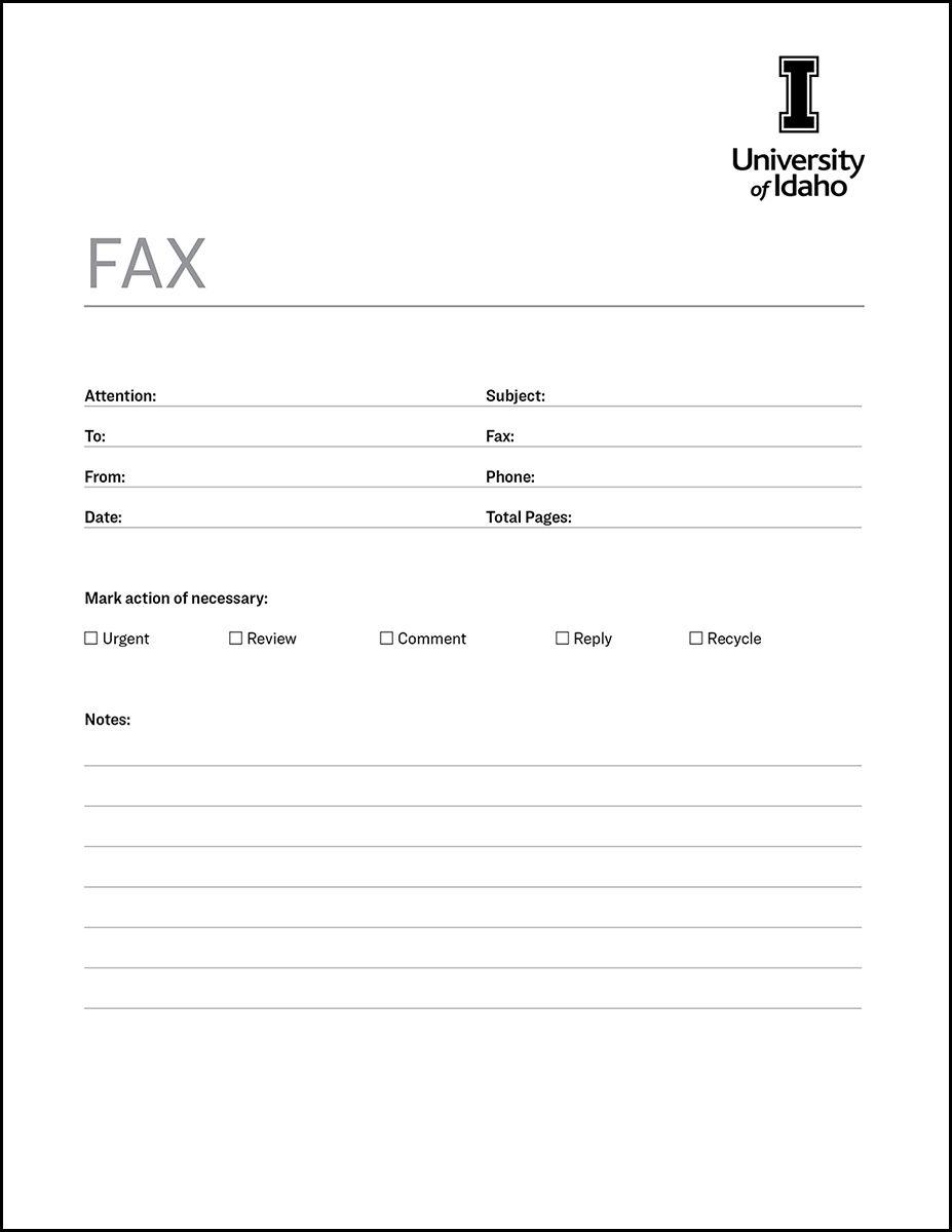 Fax Cover Sheet Brand Resource Center University Of Idaho Fax Cover Sheet Cover Sheet Template Cover Letter Template Pdf fax cover sheet fillable