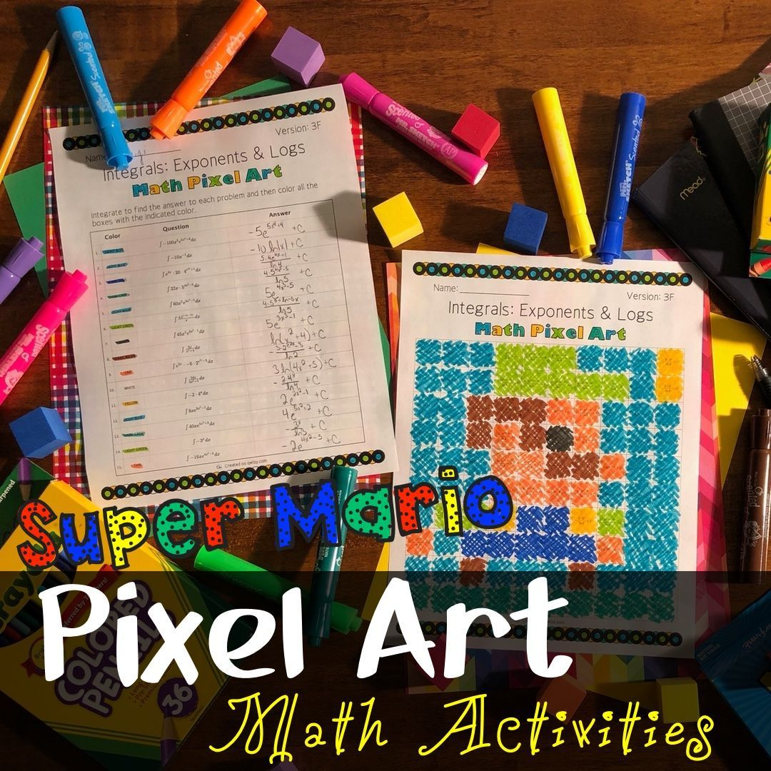 Super Mario Pixel Arts Math Activities Fun Math Activities Math Activities Pixel Art [ 1080 x 1080 Pixel ]