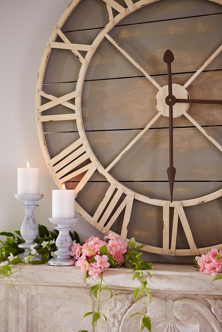 oversize gray rustic wall clock