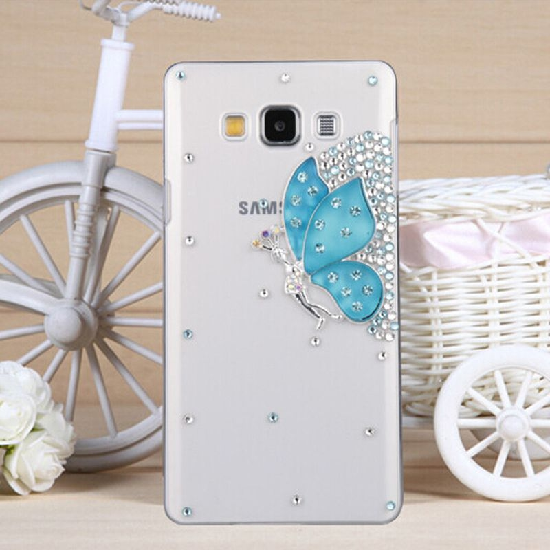 3D Gem Butterfly Bling Crystal Diamond Cell Phone Shell Back Cover Hard Case  For Samsung Galaxy