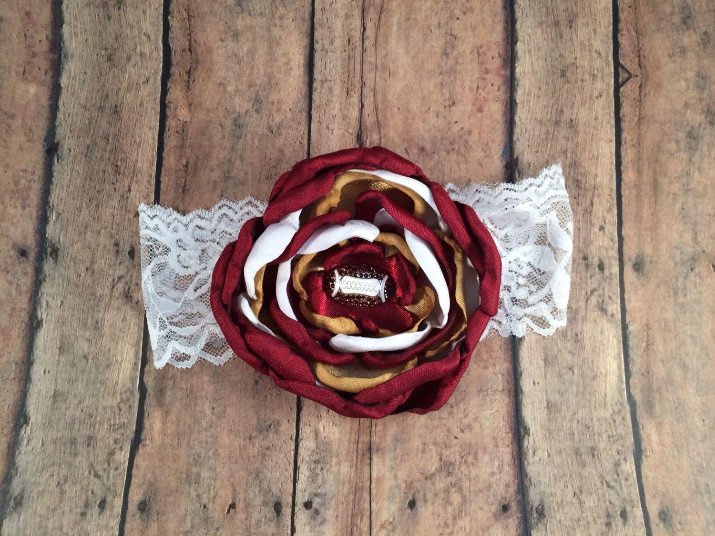 Sf 49ers Silk Flower Headband Football Rhinestone Sf 49ers Baby