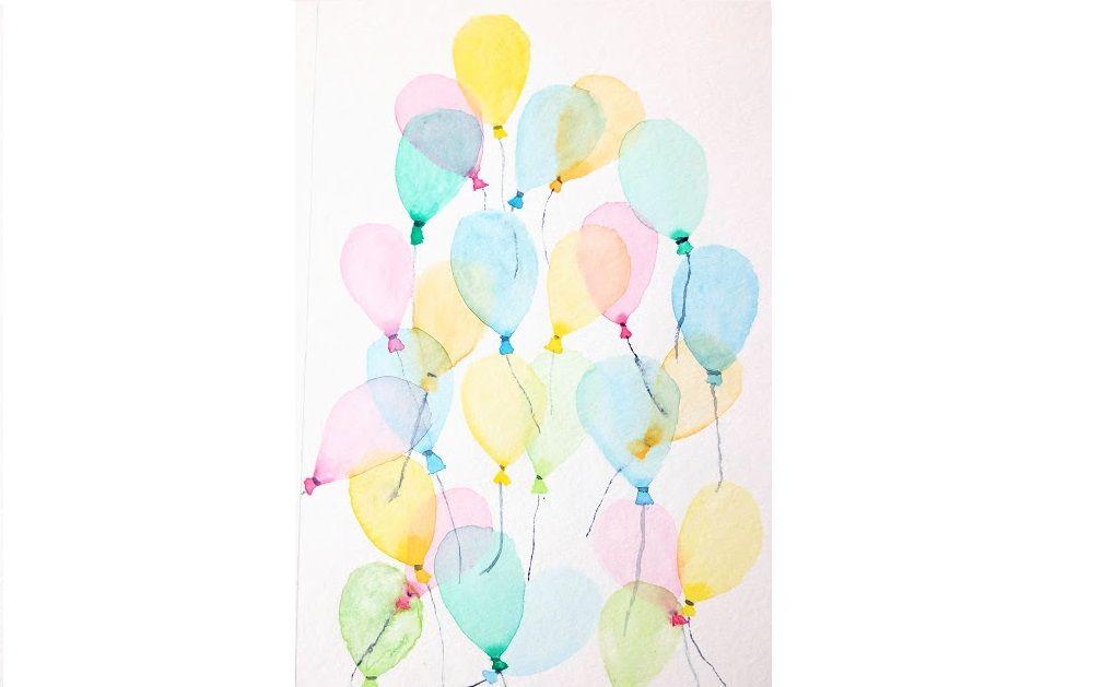 Carte D Anniversaire Des Ballons A L Aquarelle Aquarelle