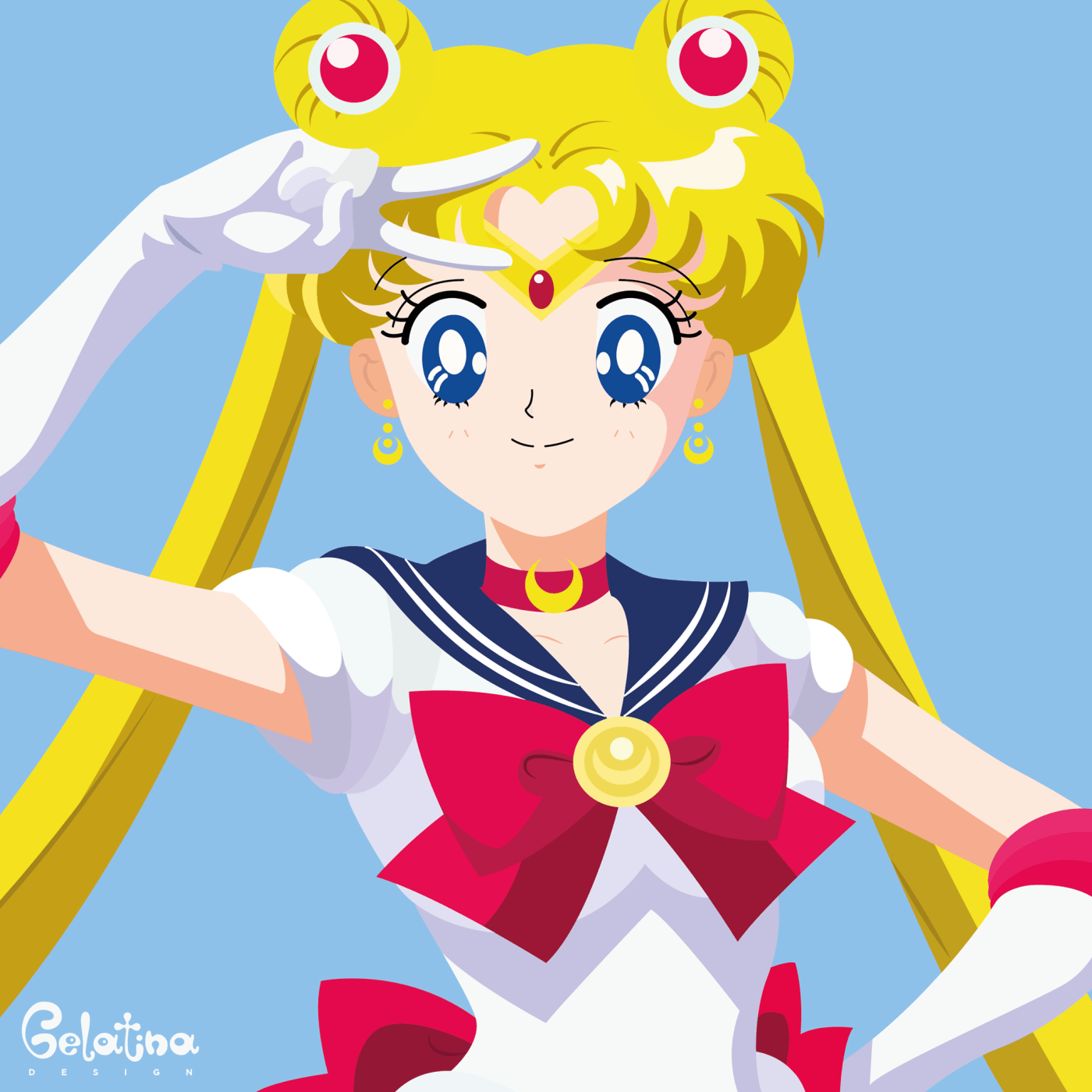 """Sailor Moon – grafica  21 febbraio 1995 – Prima TV in Italia dell'Anime """"Sailor Moon"""". La protagonista Usagi Tsukino si trasforma in Sailor Moon, la guerriera dell'Amore e della Giustizia protetta dalla Luna. Every Day – GELATINA DESIGN"""