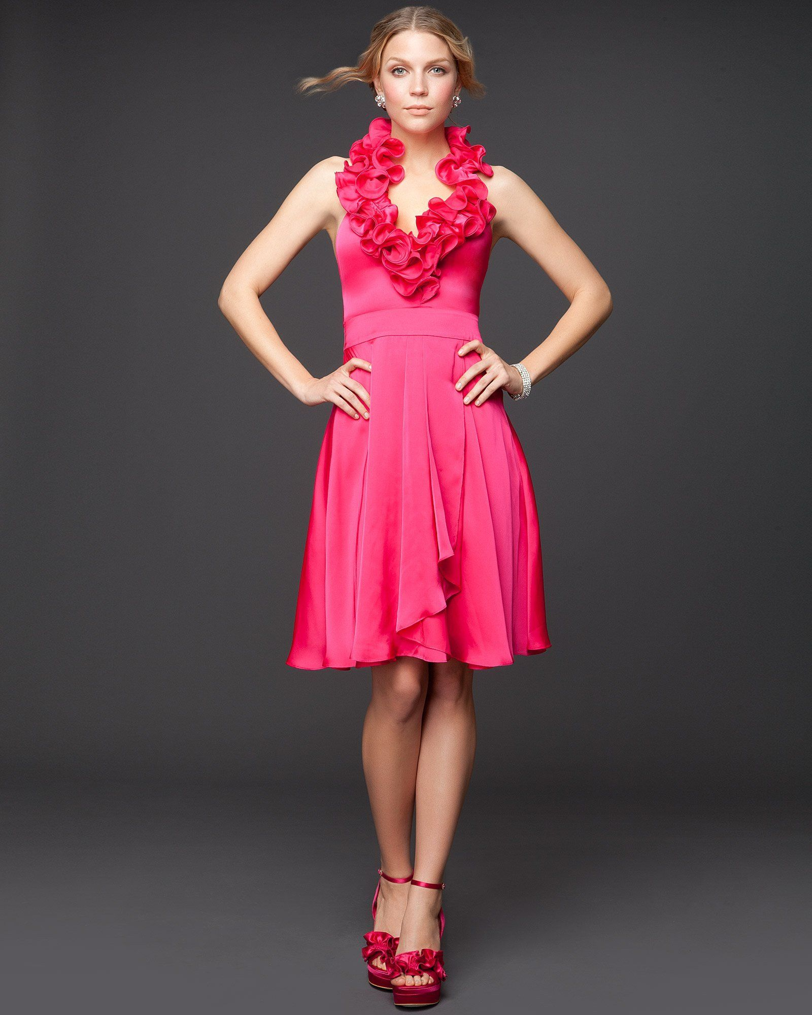 Love the top and the color bebe ruffle halter satin dress my