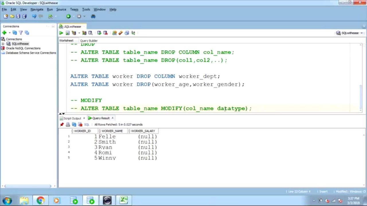 SQL ALTER TABLE - ADD,DROP,MODIFY and RENAME  Sql, Alters, Ads