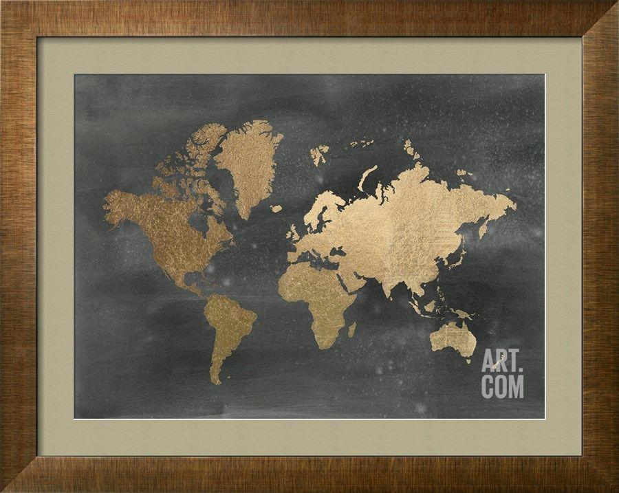 Gold Foil World Map Framed.Gold Foil World Map On Black