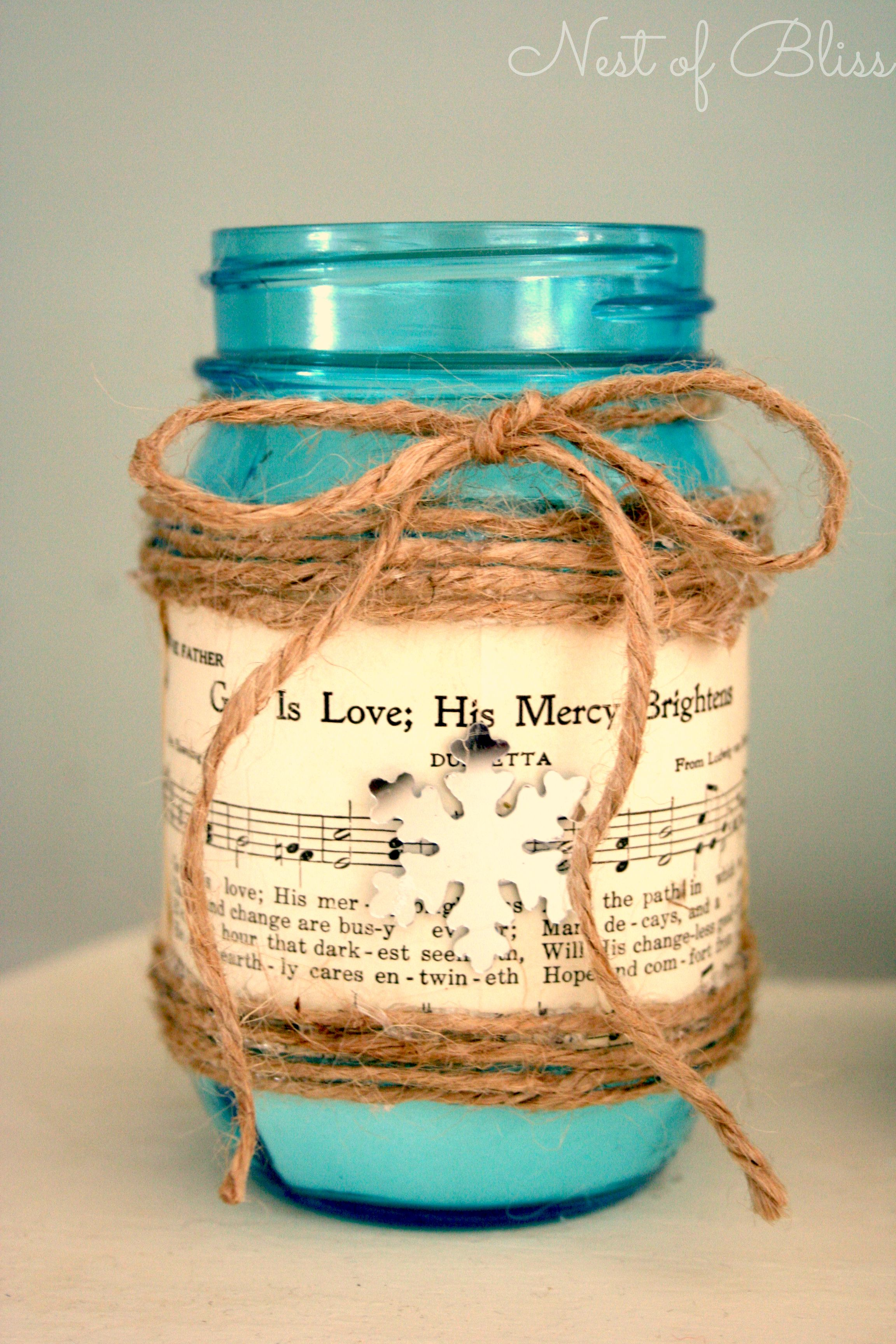 DIY Sheet Music Mason Jar Candle - Nest of Bliss. Great for kids craft  project, but use battery operated candle.