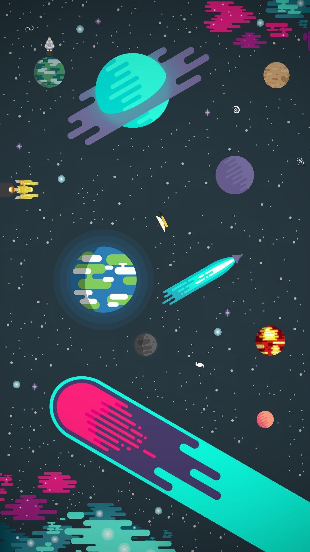 宇宙のイラスト 宇宙 イラスト 壁紙 スマホ壁紙
