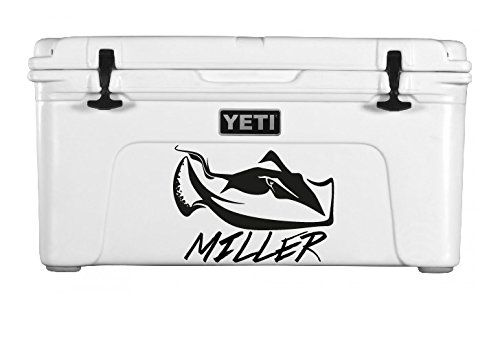 "Personalized Vinyl Decal for Yeti Coolers - STINGRAY. Personalize your own cooler decal! Approximate decal sizes: 35qt Decal-8"" x 5"" , 45qt Decal -11"" x 5.5"" , 65qt Decal-13.75"" x 7"" ,75qt Decal-19"" x 10"" , 210qt Decal-22"" x 11"". Perfect for Yeti coolers or others of similar sized coolers! Good quality vinyl, water proof and long lasting. Please hand wash only. Does not include cooler. Decal only."