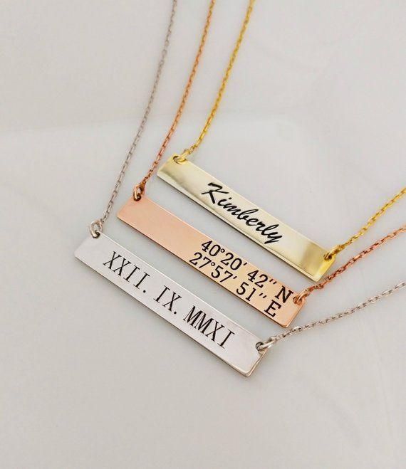 Custom Coordinate Bar Necklace Engraved Gold Bar Jewelry Etsy Engraved Bar Necklace Coordinates Bar Necklace Gold Bar Jewelry
