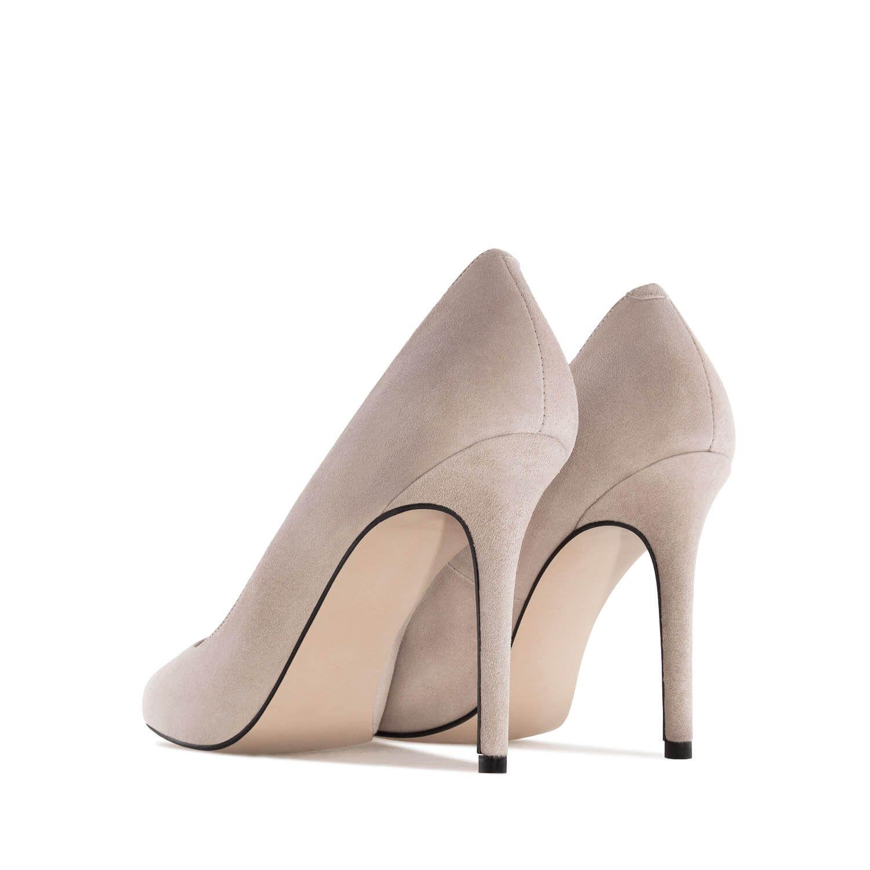 Zamszowe Buty Na Obcasie Taupe Shoes Mule Shoe Heeled Mules