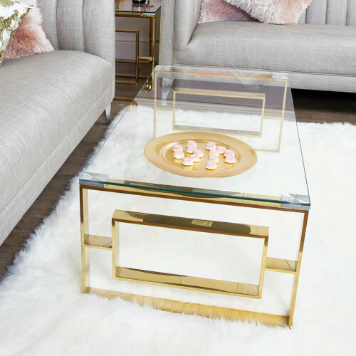 Plaza Gold Contemporary Clear Glass Lounge Living Room Coffee Table Ebay In 2020 Gold Coffee Table Living Room Coffee Table Coffee Table Pictures