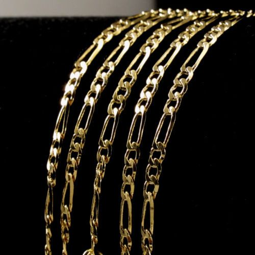 14kt Yellow Gold Figaro Chain 1.3 mm Width 22.0 Inch Long (2.3 Grams) by RG&D..|||| #14kt #gold #chain #jewelry #metal #goldchain #whitegold #yellowgold #mens #women #his #her #style #fashion #online #shopping #chains #goldchains #follow #pinterest #richmondgoldanddiamond