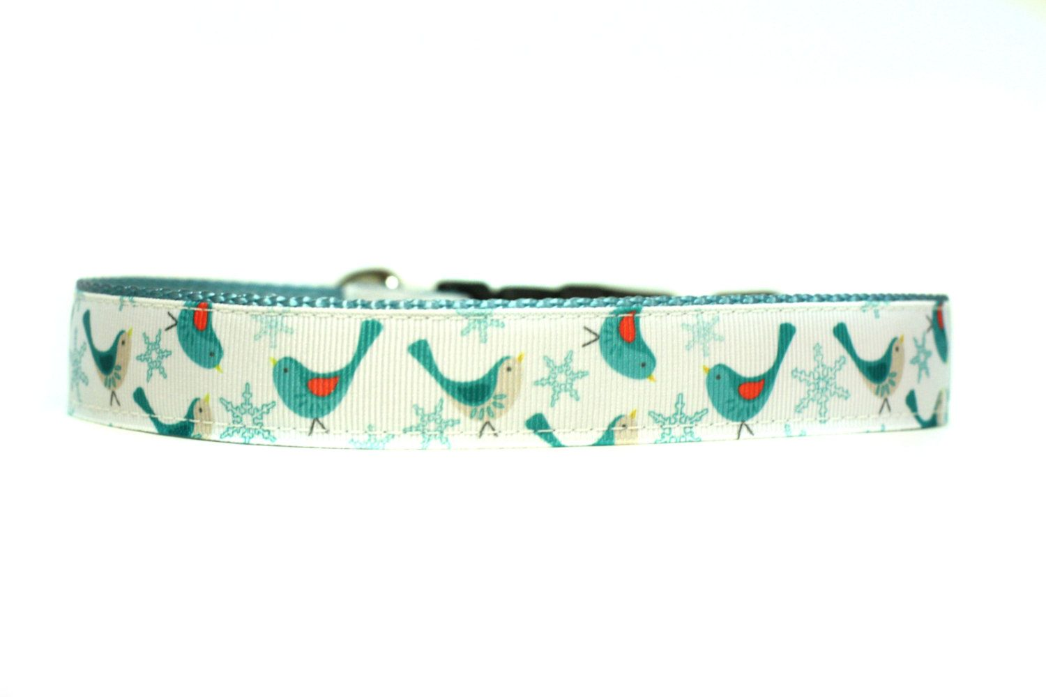 1 Inch Wide Dog Collar with Adjustable Buckle or Martingale in Holiday Tweet by codyscreations on Etsy