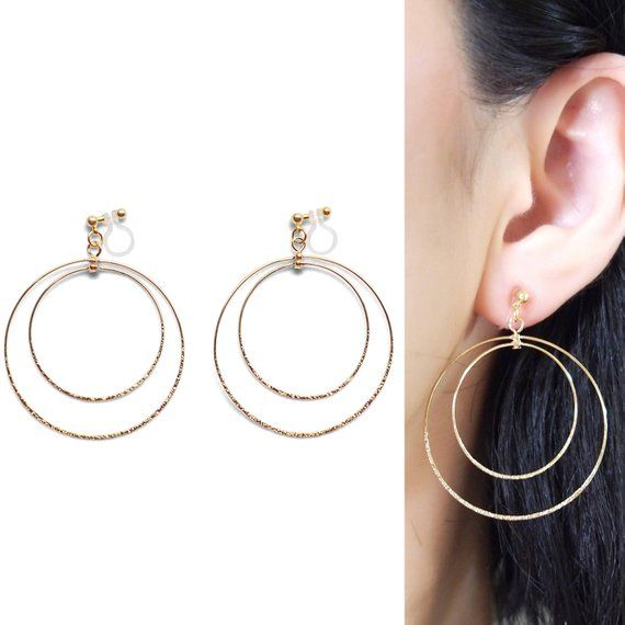 Clip On Hoop Earrings Large Gold Hoops Dangle Invisible Ea
