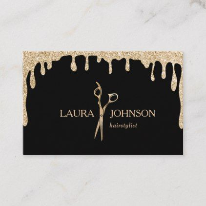 Hair Stylist Dripping Gold Glitter Scissors Business Card Zazzle Com Hair Business Cards Hairstylist Business Cards Stylist Business Cards