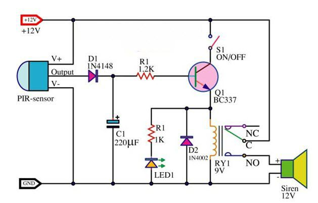 #PIRMotionSensor alarm circuit is an electronic sensor that measures infrared (IR) light radiating from objects in its field of view. They are most often used in PIR-based motion detectors.
