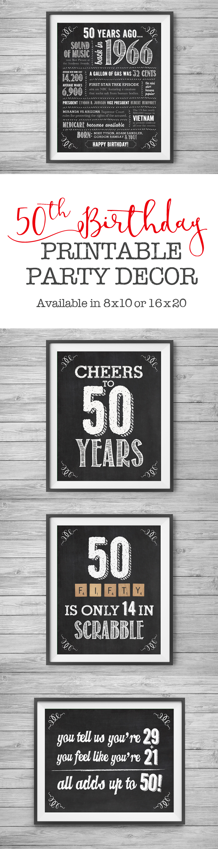 50th birthday printable party decor supplies 4 unique 8x10 chalk