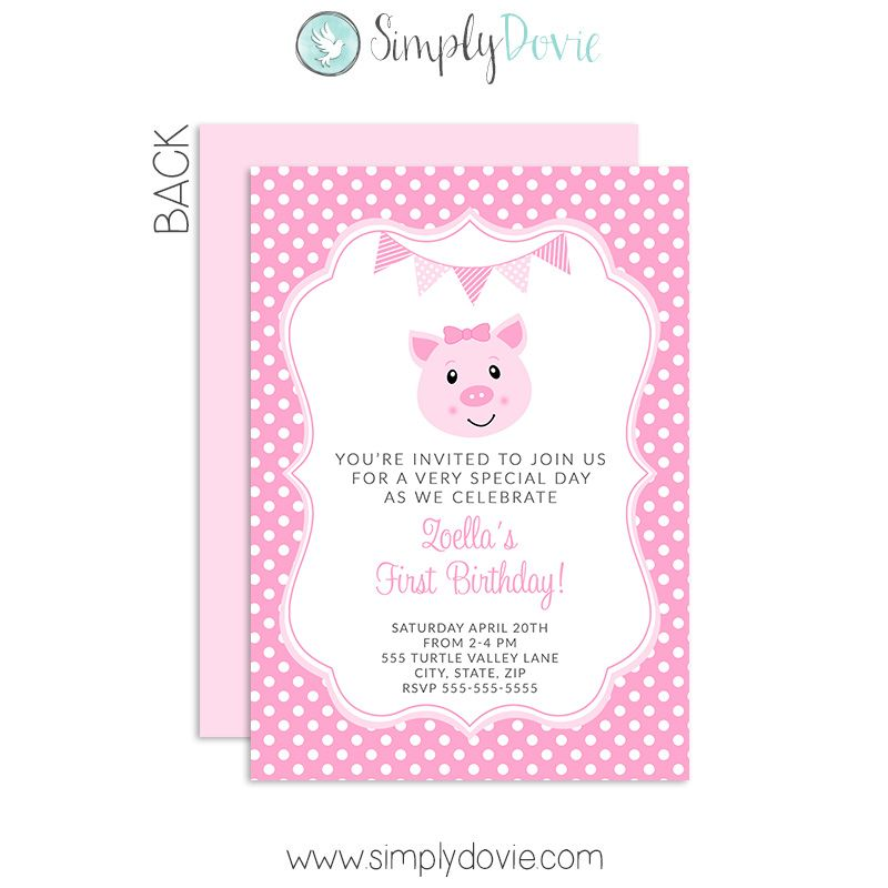 Pig Birthday Invitations | Piglet , Little Pig Birthday | Pinterest ...
