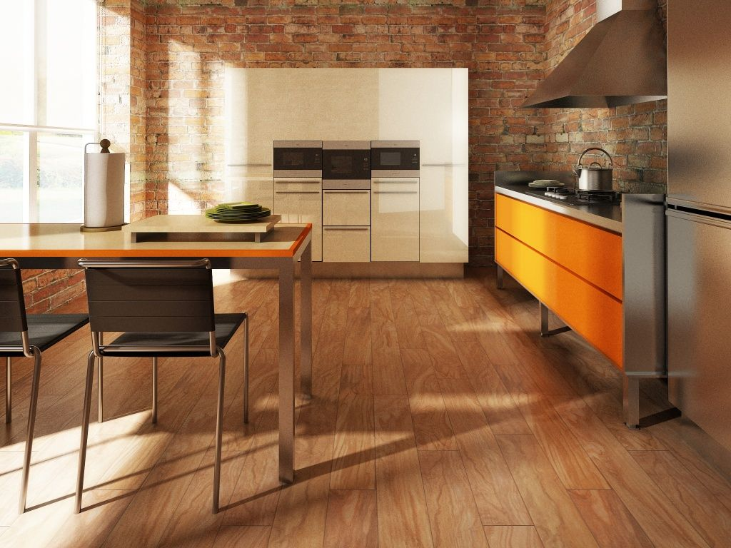Red brick flooring kitchen - Modern Kitchen Design With Wood Look Tile Floor Red Brick Walls And White