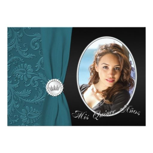 Teal and Black Photo Quinceanera Invitation