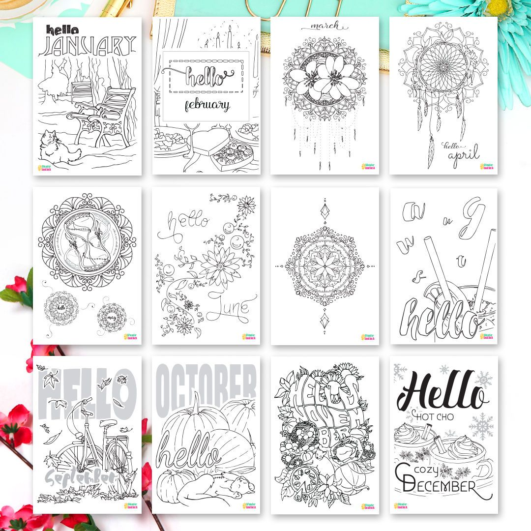 A5 Planner Kit Hello Month Bundle Coloring Pages Monthly Planner Bundle A5 Inserts Planner Kit Coloring Stickers Coloring Pages