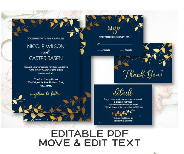 Print Your Own Wedding Invitations Templates: Royal Blue Wedding Invitation Template Navy And Gold