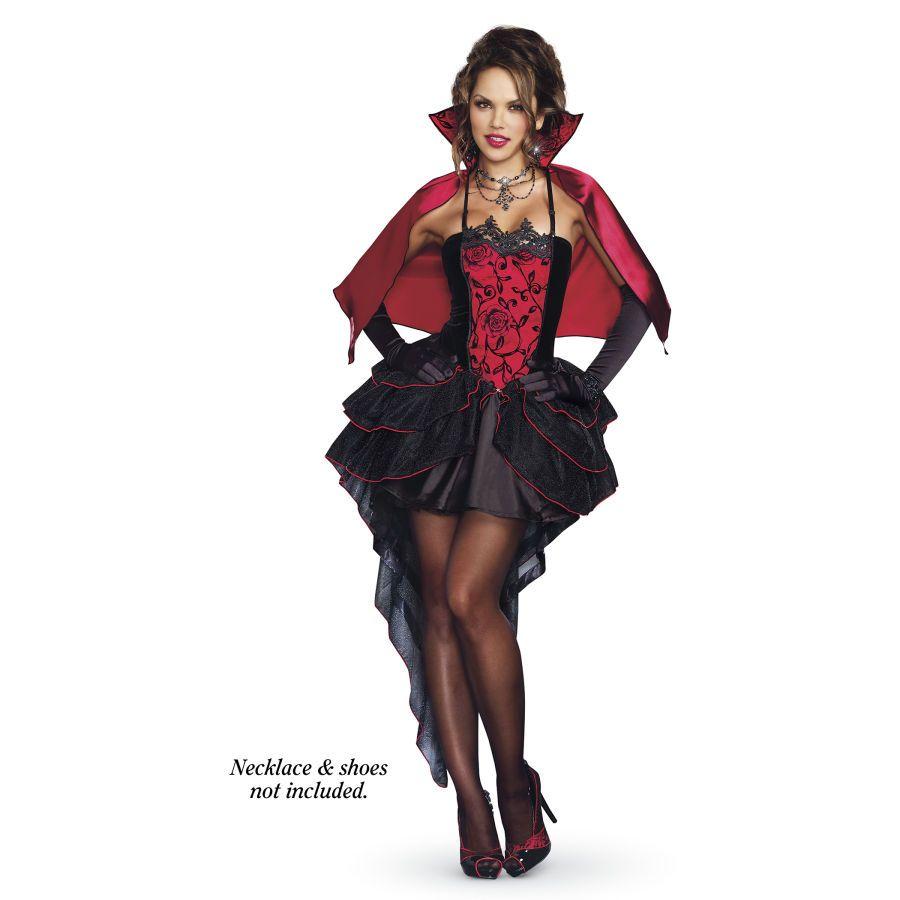 Ladies Gothic Halloween Vampire Dress Cape Choker Belt Fancy Dress