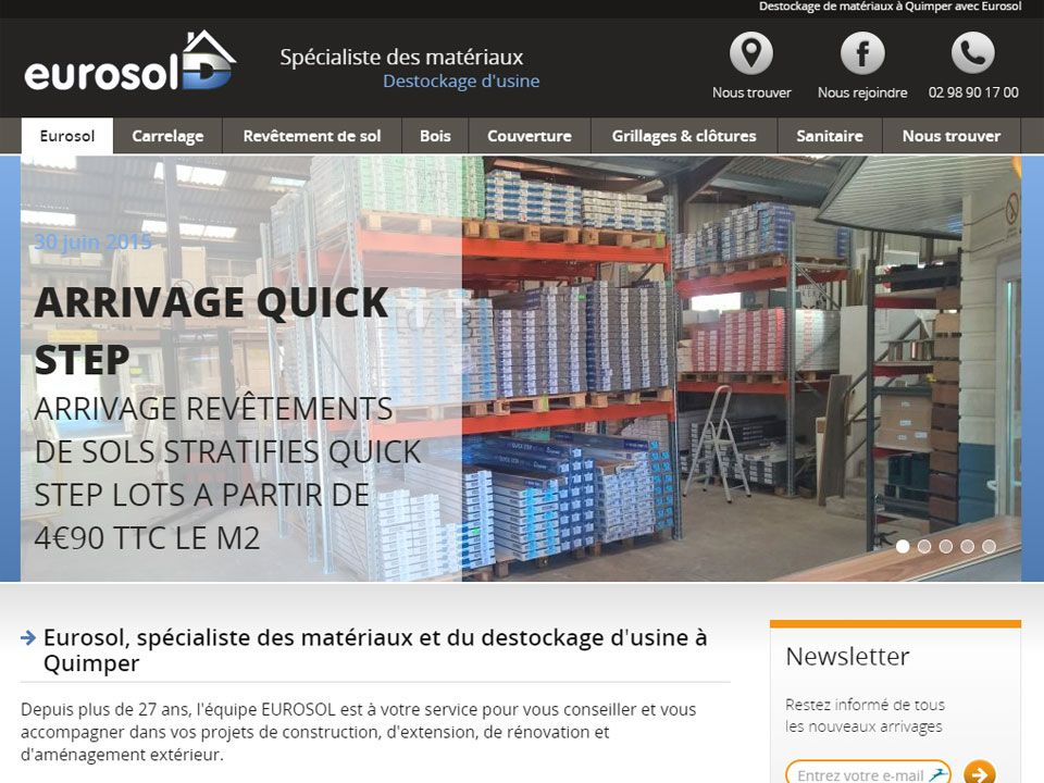 Destockage de matériaux à Quimper Bâtiment - Sites Internet