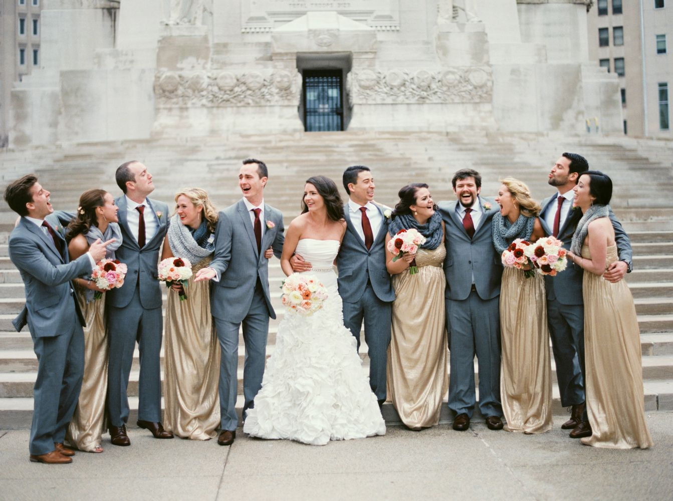 gold and gray wedding party