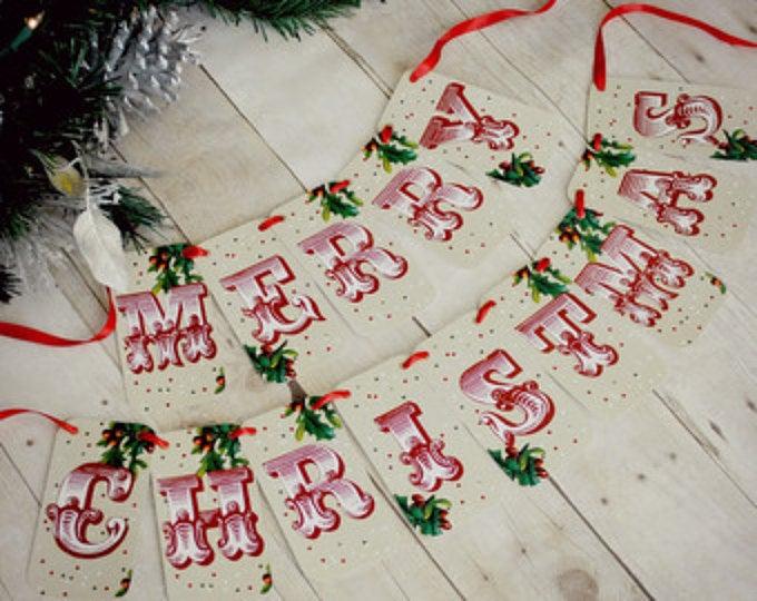 Christmas Decorations - Merry Christmas banner - Holiday Banner- Christmas Garland - Christmas Photoprop