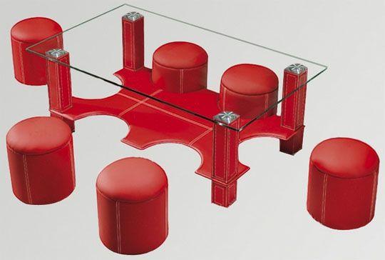mesa de centro con 6 puff