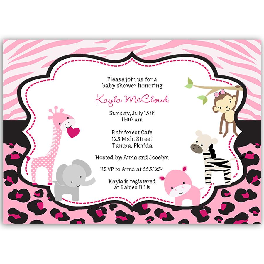 Pink Safari Baby Shower Invitation | Shower invitations and Babies
