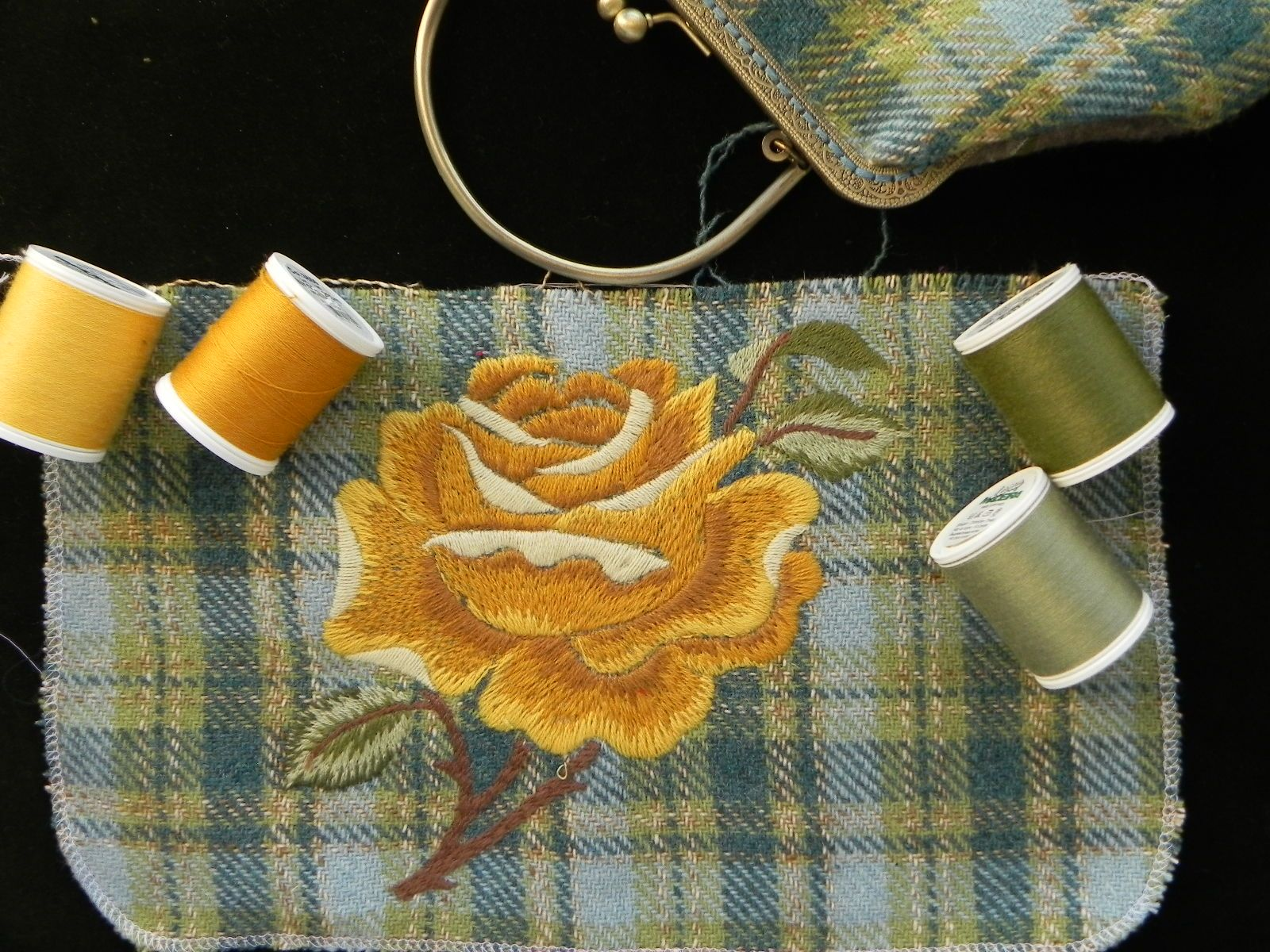 crewel embroidery - a yellow rose