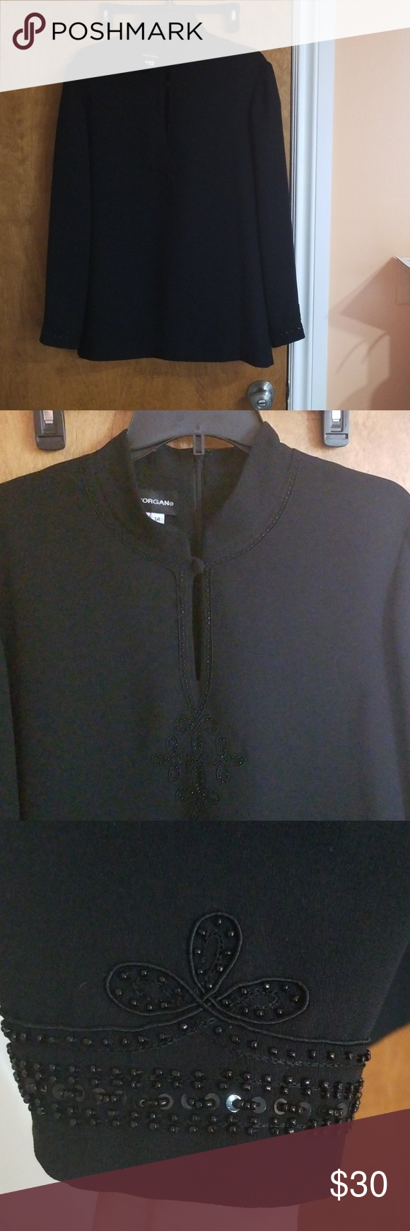 54747a2bb7 🆕️Donna Morgan Blouse Donna Morgan Blouse Zippered back closure Size  14  Embroidered   neck Front Sleeve ends Black 100% Polyester Gently used Donna  ...