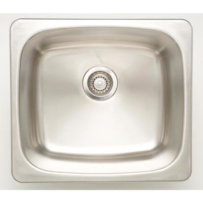 Drop In Stainless Steel 20 In Deck Mount Single Bowl Kitchen Sink