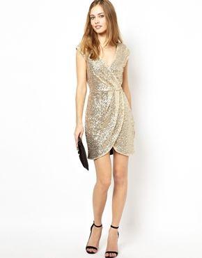 555848c5 Image 4 of Oasis Sequin Wrap Dress | Celebrate | Vestido nochevieja ...