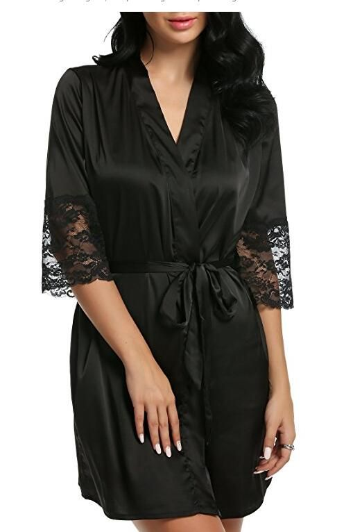 Mid-sleeve sexy women nightwear robes plus size M L XL XXL lace real silk  female bathrobes free shipping 2015 vs brand hot - Teepair f5127aa39