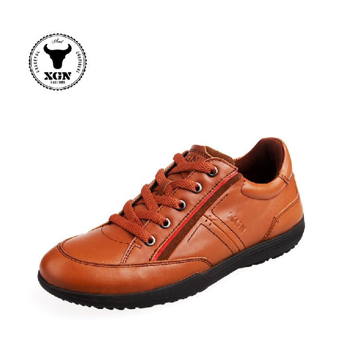 lowest price d3634 b0758 XGN Best Cool Leather Grey/Brown/Black Sneakers Shoes for Men, Autumn  Exclusive Designer Flat Fashion Mens Walking Sneakers Sale Free Shipping  ($68 to get ...