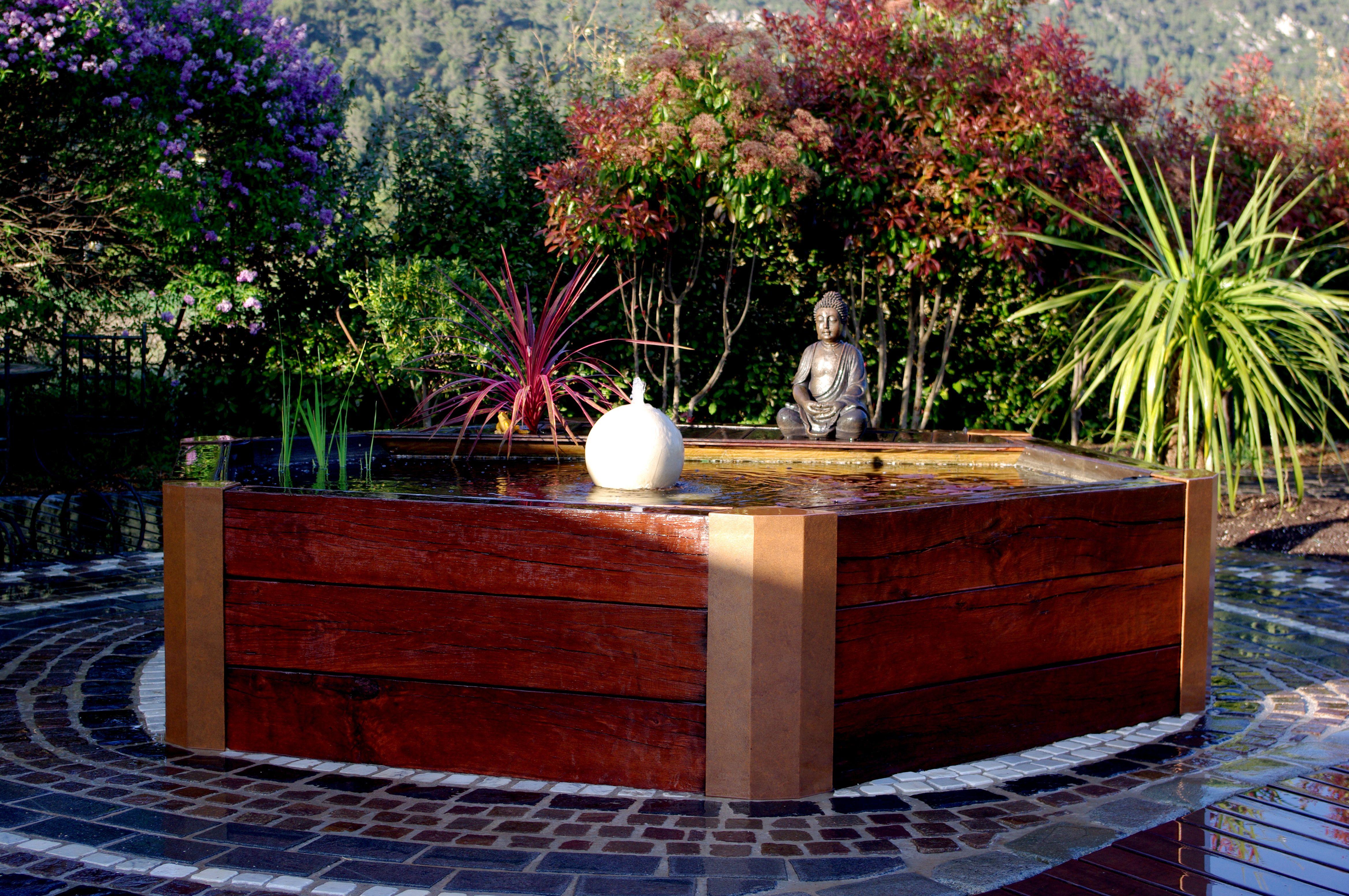 bassin bois et m tal bac en bois terrain de boule jardiniere terrasse