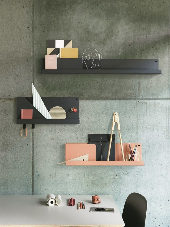 Folded, a sophisticated shelving system with architectural details